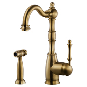 Regal Traditional Kitchen Faucet with Sidespray in Antique Brass, Faucet Height: 12-5/16'' H, Spout Reach: 9'' D, Spout Height: 8-5/8'' H