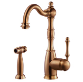 Regal Traditional Kitchen Faucet with Sidespray in Antique Copper, Faucet Height: 12-5/16'' H, Spout Reach: 9'' D, Spout Height: 8-5/8'' H