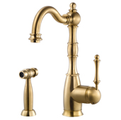 Regal Traditional Kitchen Faucet with Sidespray in Brushed Brass, Faucet Height: 12-5/16'' H, Spout Reach: 9'' D, Spout Height: 8-5/8'' H