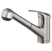 Reya Pull Out Kitchen Faucet in Brushed Nickel, Faucet Height: 7-3/4'' H, Spout Reach: 6-3/4'' D, Spout Height: 11-13/16'' H
