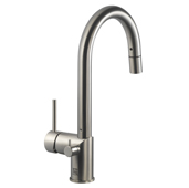 Sentinel Pull Down Kitchen Faucet with Hot Water Safety Switch in Brushed Nickel, Faucet Height: 15-1/16'' H, Spout Reach: 8-1/4'' D, Spout Height: 8-9/16'' H
