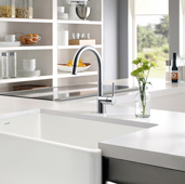 Sentinel Pull Down Kitchen Faucet with Hot Water Safety Switch in Polished Chrome, Faucet Height: 15-1/16'' H, Spout Reach: 8-1/4'' D, Spout Height: 8-9/16'' H