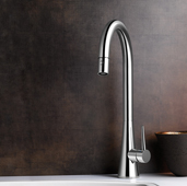 Soma Pull Down Kitchen Faucet in Polished Chrome, Faucet Height: 17-7/8'' H, Spout Reach: 8-1/4'' D, Spout Height: 11-1/2'' H