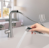 Soma Pull Out Kitchen Faucet in Polished Chrome, Faucet Height: 12-3/16'' H, Spout Reach: 9-1/16'' D, Spout Height: 10-5/8'' H