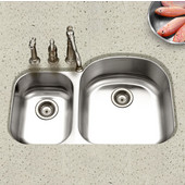 Eston 70/30 Undermount Double Bowl Large Bowl Right in Stainless Steel, 32-3/16''W x 20-1/2'' D, 9'' Bowl Depth