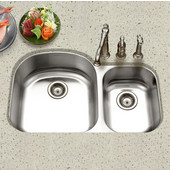 Eston Undermount 70/30 Double Bowl Stainless Steel, Large Bowl Left, 32-3/16''W x 20-1/2'' D, 9'' Bowl Depth