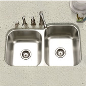 Eston 60/40 Undermount Double Bowl Large Bowl Right in Stainless Steel, 31-1/4''W x 20'' D, 9'' Bowl Depth