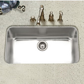 Eston Undermount Large Single Bowl in Stainless Steel, 32-3/8''W x 18-7/8'' D, 9'' Bowl Depth