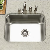 - Undermount Single Bowl Kitchen Sink, 23''W x 17-3/4''D x 9''H