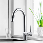 Vitale Pull Down Kitchen Faucet in Polished Chrome, Faucet Height: 15-1/16'' H, Spout Reach: 8-1/4'' D, Spout Height: 8-5/8'' H