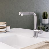 Vitale Pull Out Kitchen Faucet in Polished Chrome, Faucet Height: 12-1/8'' H, Spout Reach: 9'' D, Spout Height: 10-1/8'' H