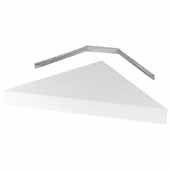 Wall Mounted Corner Floating Shelf In White, 17'W x 12'D x 1-11/16'H