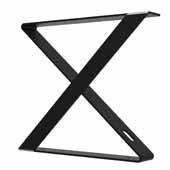 Indera Bench X-shaped Leg in Black, 3'' W x 20-1/2'' D x 17-1/2'' H