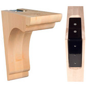 Scalloped Overhang Bar Bracket with Corbel Rib in Maple, 3'' W x 10'' D x10'' H