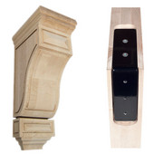 Scalloped Mission Wood Corbel with Corbel Rib in Maple, 5'' W x 7'' D x 14'' H