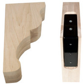 Lexington Bar Bracket Wood Corbel with Corbel Rib in Maple, 3'' W x 6-9/16'' D x12-3/4'' H