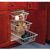 11'' Wide 3-Tier Vegetable Baskets for Kitchen Base Cabinet in White, Available in Multiple Options