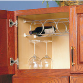 Cabinet Mount Wine Rack with 6 Rings, 6 Bottle Capacity, 29-7/8''W x 5-1/16''H, Frosted Nickel, 5 Pairs