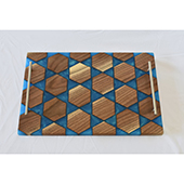 Black Walnut Hexagon & Epoxy Serving Board with Brushed Stainless Handles, 12'' W x 16'' D x 1-1/4'' Thick, Caribbean Blue