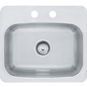 Axis Single Bowl Drop In Kitchen Sink with 2 Holes, Mirror-Silk Stainless Steel, 20 Gauge, 17''W x 17''D x 8''H