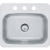 Axis Single Bowl Drop In Kitchen Sink with 3 Holes, Mirror-Silk Stainless Steel, 20 Gauge, 17''W x 17''D x 8''H