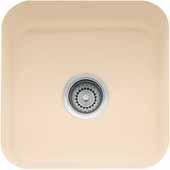 Fireclay Undermount Sink, 17-1/2''W x 17-1/2''D x 7-7/8'' H, Biscuit