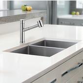 Cube Double Bowl Undermount Kitchen Sink, Stainless Steel, 18 Gauge, 31-1/2''W x 17-3/4''D x 9''H