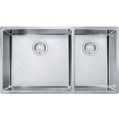 Cube Offset Double Bowl Undermount Kitchen Sink, Stainless Steel, 18 Gauge, 31-9/16''W x 17-3/4''D x 9''H