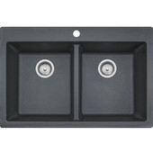 Primo Double Bowl Drop In Kitchen Sink, Granite, Graphite, 33''W x 22''D x 9''H