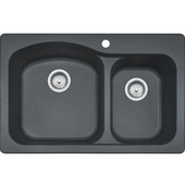 Gravity Offset Double Bowl Drop In Kitchen Sink, Granite, Graphite, 33''W x 22''D x 9''H