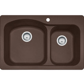 Gravity Offset Double Bowl Drop In Kitchen Sink, Granite, Fragranite Dark Brown, 33''W x 22''D x 9''H