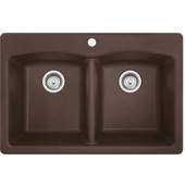 Ellipse Double Bowl Drop In Kitchen Sink, Granite, Fragranite Dark Brown, 33''W x 22''D x 9''H
