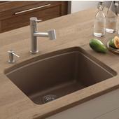 Ellipse Single Bowl Undermount Kitchen Sink, Granite, Fragranite Mocha, 25''W x 19-5/8''D x 9''H
