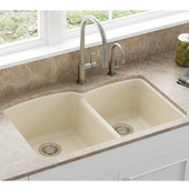 Ellipse Offset Double Bowl Undermount Kitchen Sink, Granite, Fragranite Champagne, 33''W x 21-3/4''D x 9''H