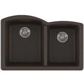 Ellipse Offset Double Bowl Undermount Kitchen Sink, Granite, Fragranite Mocha, 33''W x 21-3/4''D x 9''H