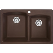 Ellipse Offset Double Bowl Drop In Kitchen Sink, Granite, Fragranite Mocha, 33''W x 22''D x 9''H