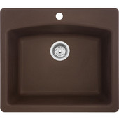 Ellipse Single Bowl Drop In Kitchen Sink, Granite, Fragranite Mocha, 25''W x 22''D x 9''H
