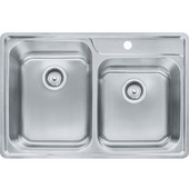 Evolution Offset Double Bowl Drop In Kitchen Sink with A Deck 1 Hole, Stainless Steel, 18 Gauge, 33-1/2''W x 22-1/2''D x 9''H