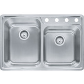Evolution Offset Double Bowl Drop In Kitchen Sink with A Deck 4 Holes, Stainless Steel, 18 Gauge, 33-1/2''W x 22-1/2''D x 9''H