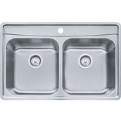 Evolution Double Bowl Drop In Kitchen Sink with C Deck 1 Hole, Stainless Steel, 18 Gauge, 33-1/2''W x 22-1/2''D x 8''H