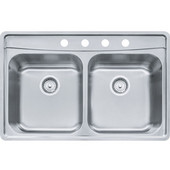 Evolution Double Bowl Drop In Kitchen Sink with C Deck 4 Holes, Stainless Steel, 18 Gauge, 33-1/2''W x 22-1/2''D x 8''H