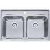 Evolution Double Bowl Drop In Kitchen Sink with C Deck 1 Hole, Stainless Steel, 18 Gauge, 33-1/2''W x 22-1/2''D x 9''H