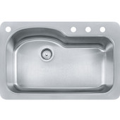 Kinetic Large Single Bowl Drop In Kitchen Sink with 4 Holes, Stainless Steel, 18 Gauge, 33''W x 22''D x 9''H