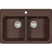 Quantum Double Bowl Drop In Kitchen Sink, Granite, Dark Brown, 33''W x 22''D x 8''H