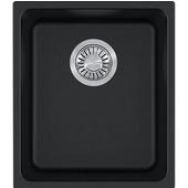 Kubus Single Bowl Undermount Kitchen Sink, Granite, Fragranite Onyx, 15''W x 17-3/8''D x 7-7/8''H