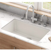 Kubus Large Single Bowl Undermount Kitchen Sink, Granite, Fragranite Vanilla, 32-3/8''W x 18-1/2''D x 9-1/2''H