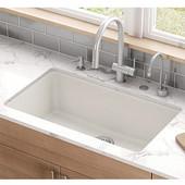 Kubus Large Single Bowl Undermount Kitchen Sink, Granite, Fragranite Vanilla, 32-3/8''W x 18-1/2''D x 9-1/2''H