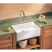 Fireclay Apron Front Undermount or Drop-On Sink, White, 23-5/8''W x 19-3/4''D x 7-7/8''H