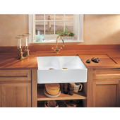 Fireclay Apron Front Undermount or Drop-On Double Bowl Sink, White
