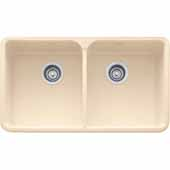 Fireclay Apron Front Undermount or Drop-On Double Bowl Sink, Biscuit